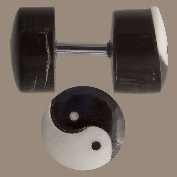 Yin And Yang Fake Gauge Plug Earring - Tribu