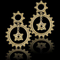 Double Sun Brass Flesh Tunnel Earrings - Tribu