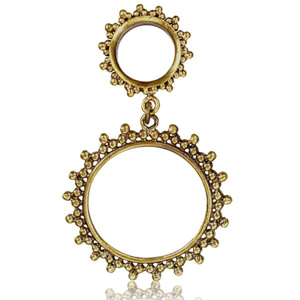 Brass Dotted Tunnel Earring - Tribu