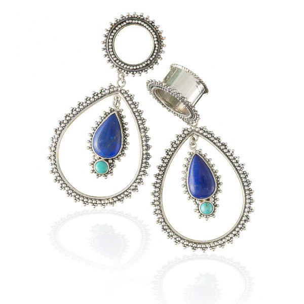 Tear Drop With Gemstones Flesh Tunnel Earrings