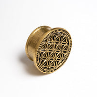 Flower of Life Brass Flesh Tunnel / Ear Gauges / Ear Stretchers / Plug Earrings / Plugs / Tunnels / Plug Tunnels / Ear Tunnels / Screw Plugs / Brass Plug Tunnels / Brass Gauges / Brass Plugs / Brass Tunnels / Gauge Jewellery
