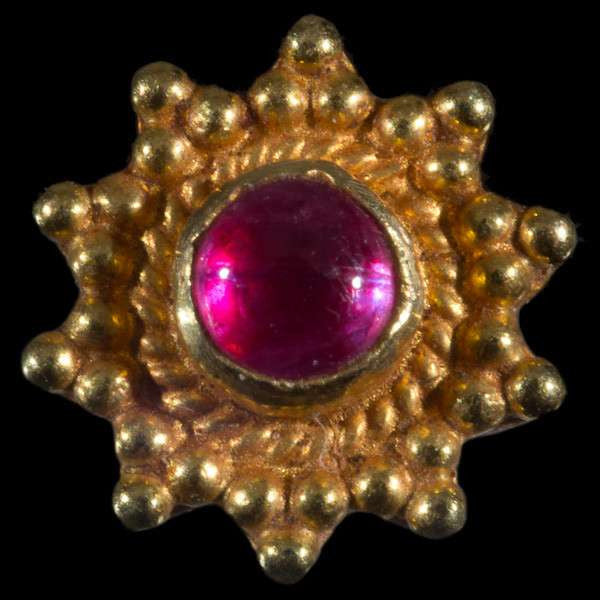 Indian Gold Ear Studs With Ruby Set In Flower Design - Tribu  - 3