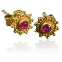 Indian Gold Ear Studs With Ruby Set In Flower Design - Tribu  - 1