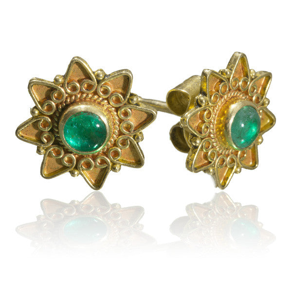 Indian Gold Studs In Lotus Flower Set With Emerald - Tribu  - 3