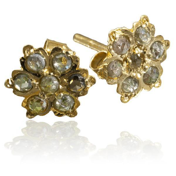 18 Carat Gold Ear Studs With Seven Ruby Stones