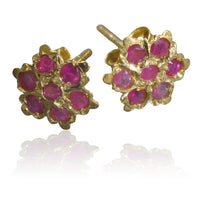 Indian Gold Ear Studs With Seven Ruby Stones - Tribu  - 1