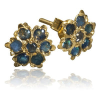 Gold Ear Studs With Seven Ruby Stones