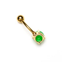 Gold Surgical Steel Belly Piercing with set Opal