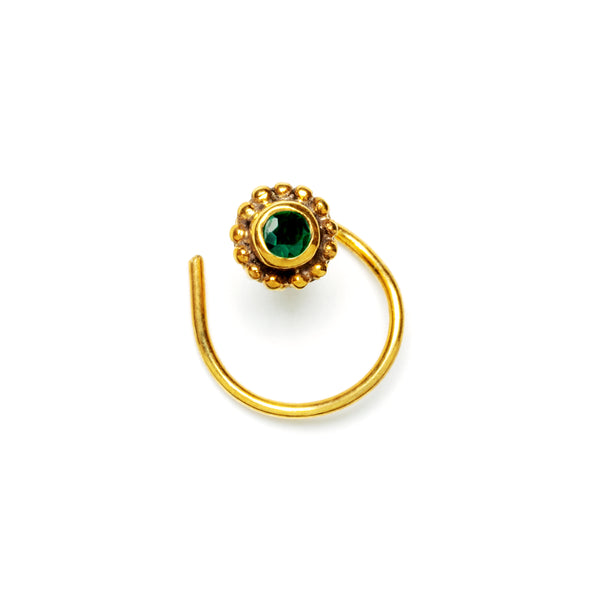 Gold Nose Stud with Green Onyx