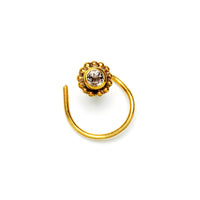 Gold Nose Stud with White Topaz