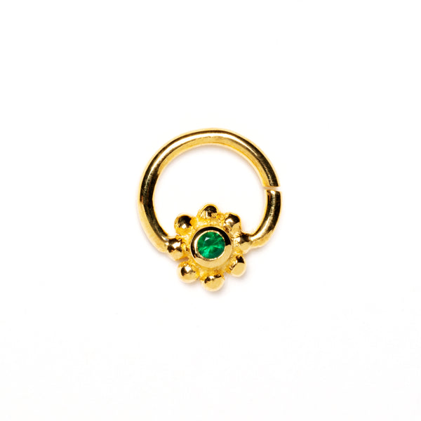 18K Gold Plated Flower Septum Ring with Green Onyx