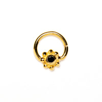 Gold Flower Septum Ring with Black Spinel
