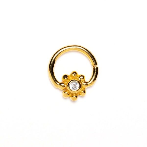 Gold Flower Septum Ring with White Topaz