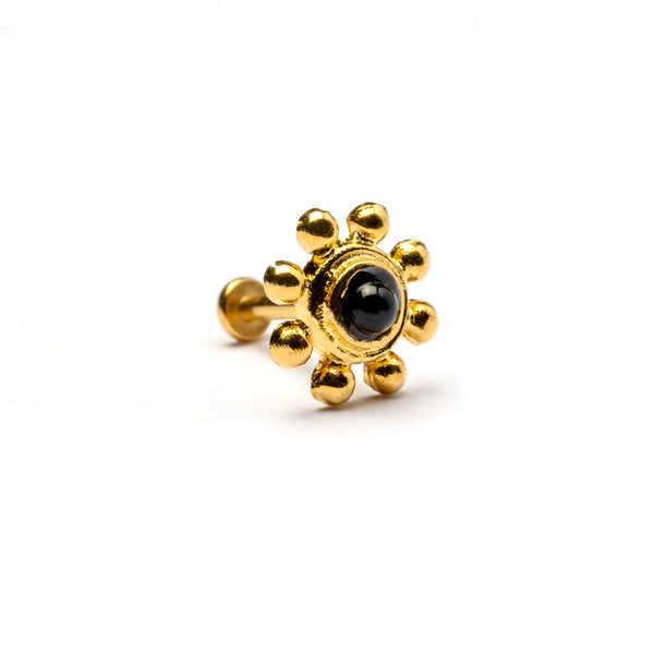 Golden Flower Tragus Piercing with Black Onyx