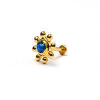 Golden Flower Tragus Piercing with Blue Opal