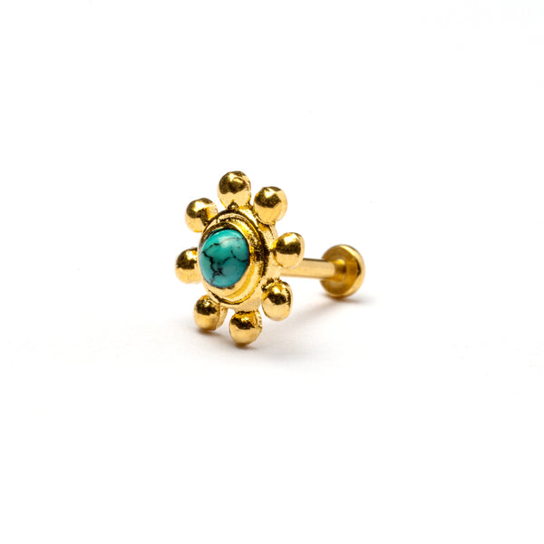 Golden Flower Tragus Piercing with Turquoise