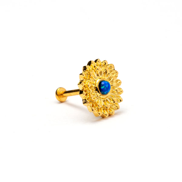 Golden Mandala Tragus Piercing with Blue Opal