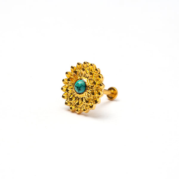 Golden Mandala Tragus Piercing with Turquoise