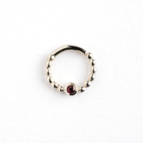Garnet set Silver Septum Ring