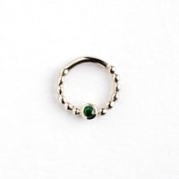 Green Onyx Silver Septum Ring