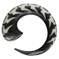 Horn Spiral Ear Strecher With Bone And Silver Inlay - Tribu  - 2
