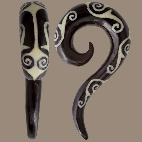 Spiral Top Horn Hook with Bone Tiki Style Inlay - Tribu