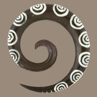 Spiral Ear Stretcher with Bone Inlays - Tribu