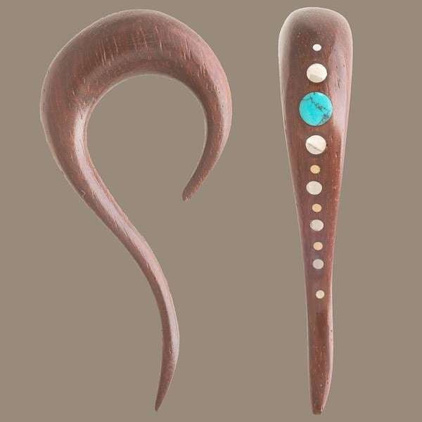 Rosewood Ear Stretcher With Turquoise And Silver Dots - Tribu  - 1