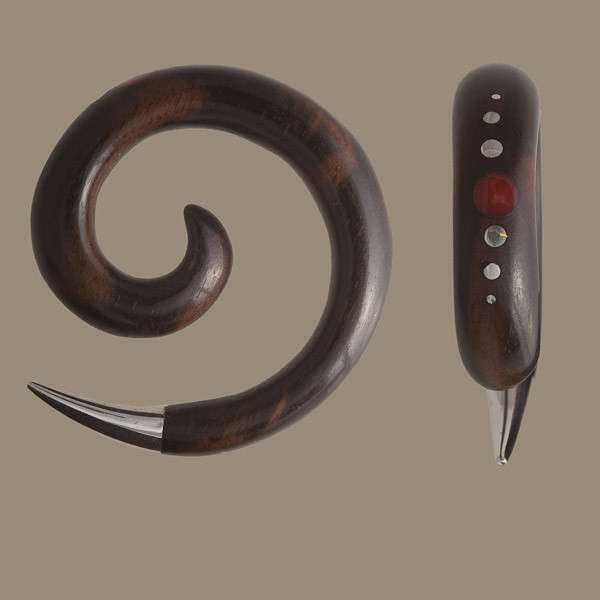 Black Wood Spiral Ear Stretcher with Precious Inlays and Silver Tip - Tribu
