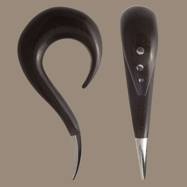 Blackwood Curved Hook with Silver Dots and Con - Tribu