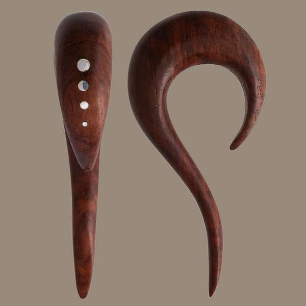 Curvy Rose Wood Ear Stretcher with Silver Dots - Tribu