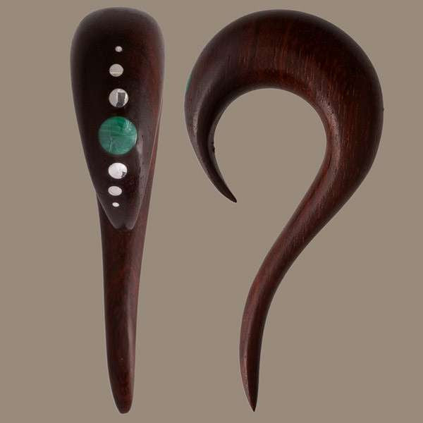 Rose Wood Ear Stretcher with Silver and Stone Inlay - Tribu  - 1