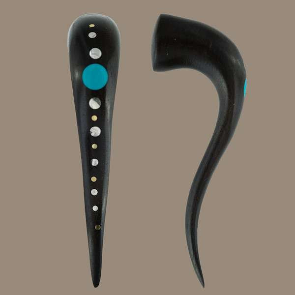 Black Wood Hook Stretcher with set Silver and Turquoise - Tribu