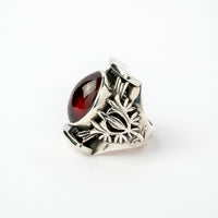 Hallmarked Silver Ring with Almandine Garnet