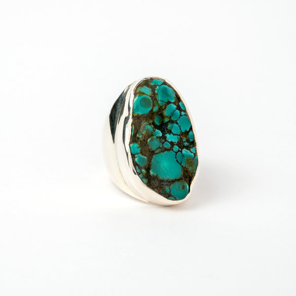 Tibetan Turquoise set in Hallmarked Silver Ring