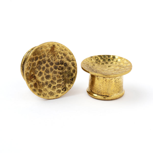 Hammered Brass Ear Plug