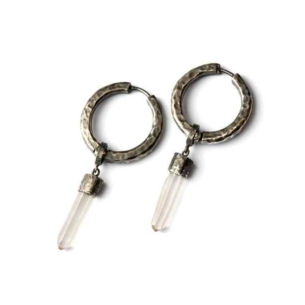 Black Silver and Crystal Clicker Earrings