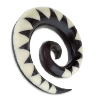 Hand Carved Horn Hook With Bone Inlay