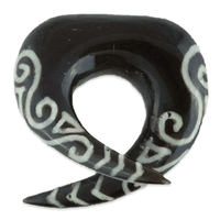 Horn Solid Tribal Hook With Tribal Bone Inlay