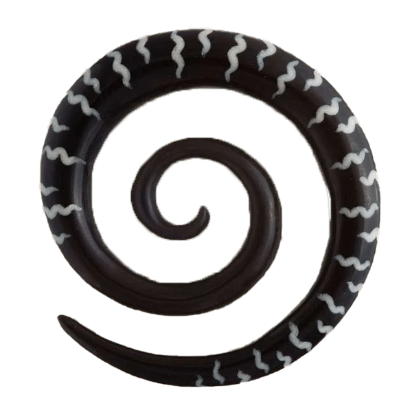 Horn Spiral Ear Stretcher with Bone Wavy Stripes