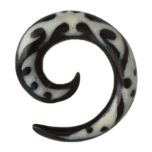 Horn Spiral Ear Stretcher with Mauri Style Bone Inlays