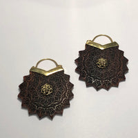 Ebony Wood Earrings with Carved Brass Lotus Flower