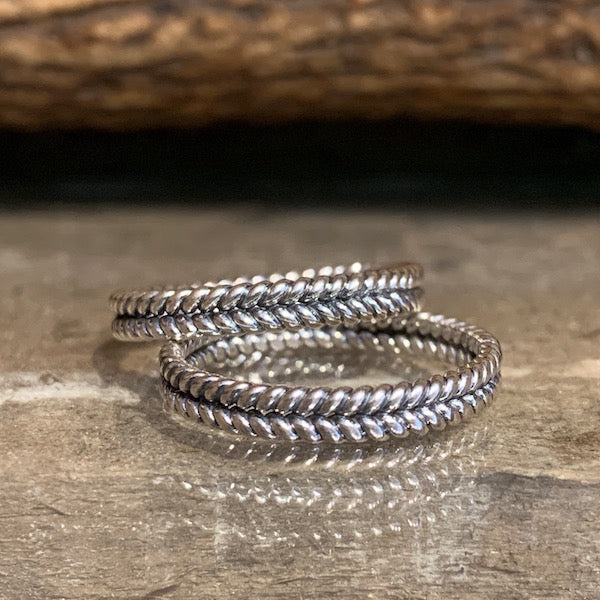 Double twisted band silver ring