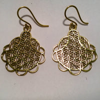 Earring Brass Flower of life Dangling09