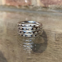 Stamped twisted silver ring
