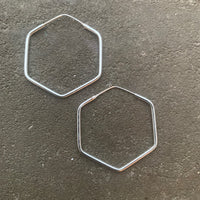 Hexagon silver hoop earrings