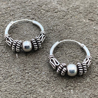 Explorer silver hoop earrings