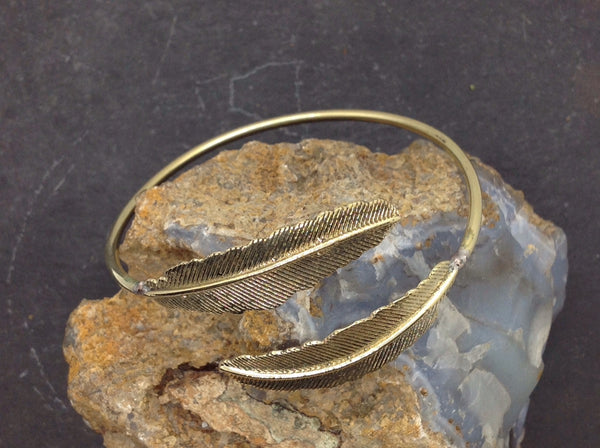Adjustable Brass Feather Cuff