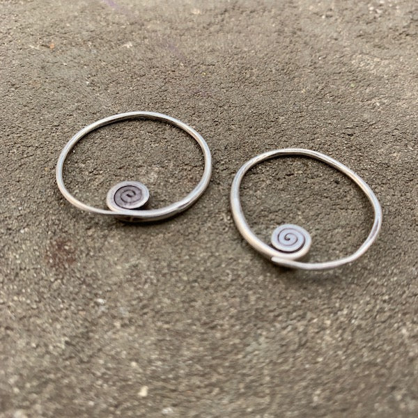 Tiny Silver Spiral Hoops