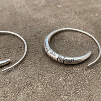 Silver Stamped Hoop Earrings